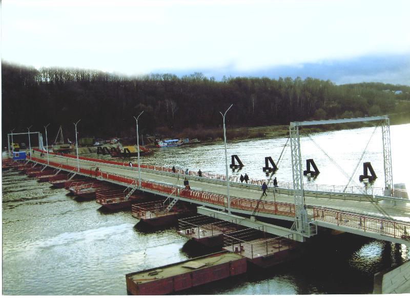 Понтонный мост через р. Оку